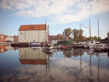 Sailboats on the river Motlawa in Gdansk. Royalty Free Stock Photos