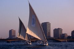 Sailboats on the River Nile. Royalty Free Stock Photos