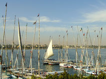 Sailboats at riverbank, Luxor, Egypt Stock Photos