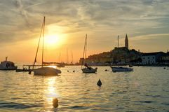 Sailboats at the Rovinj seaside and cityscape at Sunset. Sailboats approach the Old Town harbor at sunset, St. Euphemia`s Church is visible in the background royalty free stock photo