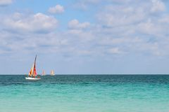 Sailboats sailing along the Atlantic coast, Cuba, Varadero Royalty Free Stock Photography