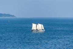 Sailboats sailing on deep blue ocean. Sailboats sailing on the Black Sea in Varna Bulgaria Stock Photo