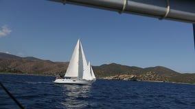 Sailboats during sailing regatta in the Sea. Travel. stock video