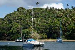 Sailboats at Savusavu harbor, Vanua Levu island, Fiji Stock Photos