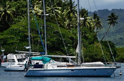 Sailboats at Savusavu harbor, Vanua Levu island, Fiji Royalty Free Stock Photo
