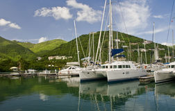 Sailboats in scenic marina. Sailboats in Nanny Cay Marina. Location on Tortola Island in the British Virgin Islands Stock Images
