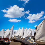 Sailboats school with sail textures in blue sky Royalty Free Stock Images