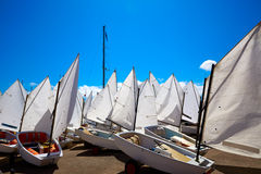 Sailboats school with sail textures in blue sky Royalty Free Stock Photography