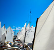 Sailboats school with sail textures in blue sky Royalty Free Stock Photos