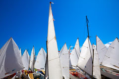 Sailboats school with sail textures in blue sky Stock Photos