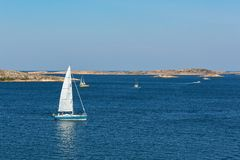 Sailboats at sea archipelago Stock Photos