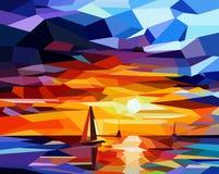 парусники ии закат в океане royalty free illustration