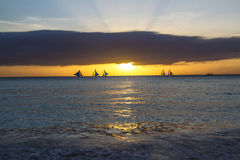 Sailboats on sea and sky background Stock Photos