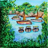 Sailboats in the sea. Small sea lagoon. Oil on canvas. royalty free illustration
