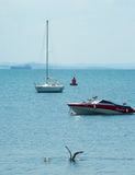 Sailboats and seagulls in the Bay of Bourgas Stock Image