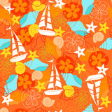 Sailboats Seamless Repeat Pattern Vector. Sailboats and Seashells Seamless Repeat Pattern Vector Stock Image