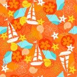 Sailboats Seamless Repeat Pattern Vector. Sailboats and Seashells Seamless Repeat Pattern Vector stock illustration