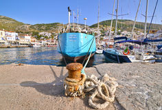 Sailboats and ships at Hydra island Saronic gulf port Greece Royalty Free Stock Photo