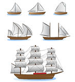 Sailboats and ships illustration Royalty Free Stock Photography