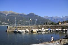 Sailboats, ships, in the small port of Colico, Lake Como, Italy stock images