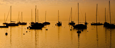 Sailboats Silhouette Stock Photography