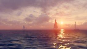 Sailboats silhouettes at sunrise Stock Image