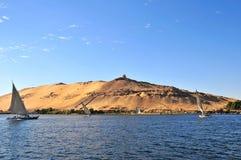 Sailboats sliding on Nile river Royalty Free Stock Photography