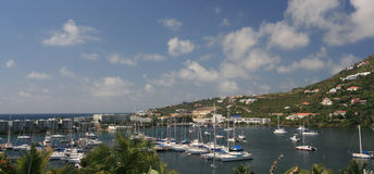 Sailboats in St Maarten. A view of sailboats in port on the eastern side of St. Maarten Royalty Free Stock Image