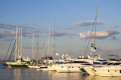 The sailboats standing in port Stock Photos