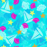 Sailboats and Starfish Seamless Repeat Pattern. Vector Stock Image