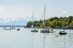 Sailboats on Starnberger See, Germany stock photo