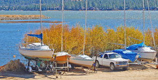 Sailboats Stored Stock Images