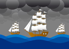 Sailboats  in storm Royalty Free Stock Photo