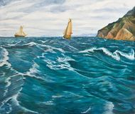 Sailboats in the stormy sea. Oil painting. Sailboats in the stormy sea Stock Photo