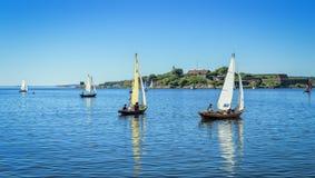 Sailboats in summer sea scenery Stock Photos