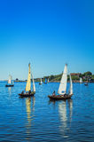 Sailboats in summer sea scenery - vertical view Royalty Free Stock Photography
