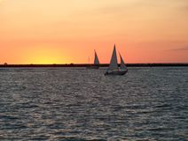 Sailboats Sundown Royalty Free Stock Image