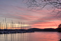 Sailboats at sunrise Royalty Free Stock Photography