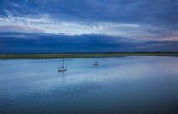 Sailboats at sunset Royalty Free Stock Images