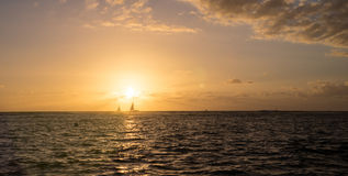 Sailboats at Sunset Royalty Free Stock Photos