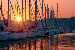 Sailboats on sunset Royalty Free Stock Photo