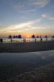 Sailboats on the sunset Stock Images