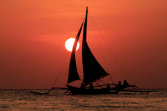 Sailboats at sunset Royalty Free Stock Image