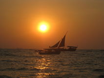 Sailboats at sunset Stock Image