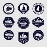 Sailboats travel labels icons set Royalty Free Stock Photos