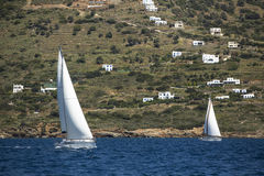 Sailboats trip on sea in Greece. Luxury yachts. Stock Images