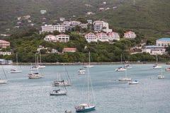 Sailboats Under Luxury Resorts Stock Images