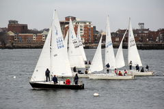 Sailboats on the water,Boston Harbor,March,2014 Royalty Free Stock Images