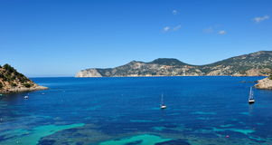 Sailboats on the west coast of Ibiza Stock Image