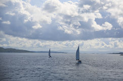 Sailboats West of the Inner Hebrides, Scotland, Uk. Stock Images